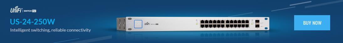 Ubiquiti UniFi Switch 24 Gigabit 24V/802.3af/at PoE 250W